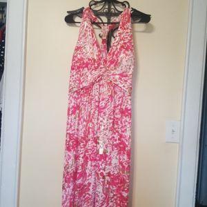 Pink - Gold- White Maxi Dress